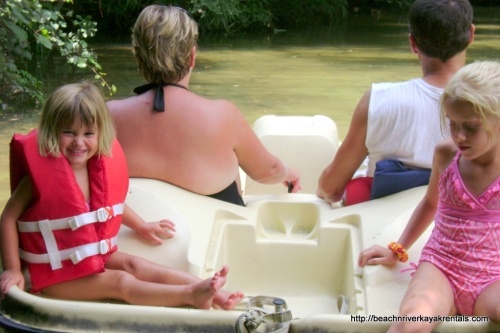 """You can choose to rent single or double kayaks plus a pedal boat to entertain a family. Pedal boats are limited and on a """"first come/first serve basis"""" so arrive as early as possible to snag one --- especially during holiday weeks! $50 to paddle until 3 p.m."""