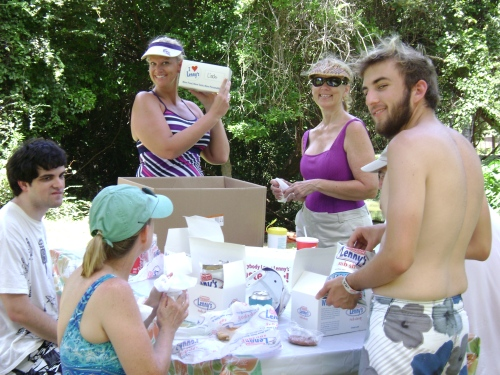 Mundinger Family Enjoys Lenny's Subs Boxed Lunch Break Between Kayaking Excursions